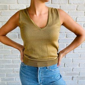 Brooks Brothers Gold Metallic V Neck Sweater Vest